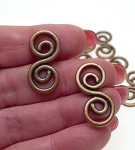 Copper Swirl Jewelry Links, Celtic Spiral Findings (10)