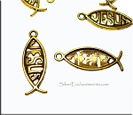 Jesus Fish Charms, Antiqued Gold Ichthus (10)