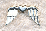 Angel Wing Beads, Bright Silver Angel Wing Heart Beads (10)