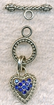 Ornate Toggle Clasp with Pave Sapphire Blue Crystal Heart