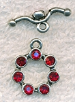 Toggle Clasp with Crystals, RED Crystal Clasp
