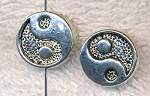 Yin-Yang Beads, Antique Silver Yin and Yang 14mm (6)