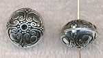 Fancy 16mm Rondelle Beads, Antique Silver Large Saturn Beads (6)