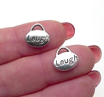 Silver Laugh Charms, Antique Silver Petwer Double Sided Laugh Word Charms Bulk (20)