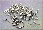 Silver Flower Toggle Clasps, Pewter (10)