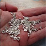 6mm Daisy Spacers, Bright Silver (100)
