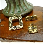 Square Geometric Toggle Clasp with Matching Charm Antiqued Gold Finish Set