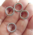 Silver Pewter Jewelry Rings 13mm Closed Twist Jump Rings 20 per bag