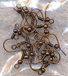 Copper Ear Wires with Ball and Coil, 10 pair 20pcs