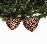 Copper Viney Celtic Heart Beads with 2mm Hole (10)