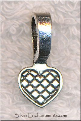 Heart Glue-on Bails, 22x10mm Antiqued Silver Glueon Bales (20)