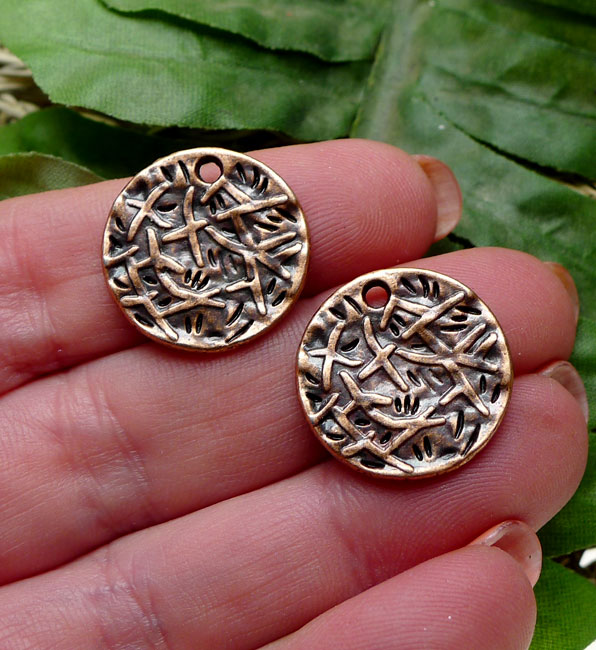 Patterned Round Coin Charm Antique Copper