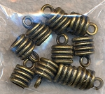 Bronze Pewter Jewelry End Caps with Ringed Detail 10 per bag