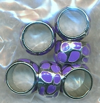 Purple Enameled Ring Beads, European-type Big Hole Spacers Bulk (6)