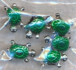 Green Enameled Turtle Beads, Turtle Large Hole Beads (6)