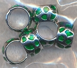 Green Enameled Ring Beads European-style Big Hole Spacers 6 per bag