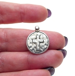 SOLDOUT - Cross Charm, Cross Medallion with Hammered Texture Finish, Bailed (1)