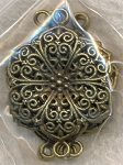 Bronze Pewter Filigree Flower Large Jewelry Connectors 40x28mm 6 per bag