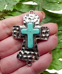 Large Hammered Cross Jewelry Connector with Turquoise Center, 56x38mm