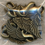 Bailed Angel Wing Pendants, Antique Brass (10)