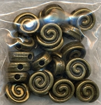 Spiral Beads, Antique Brass (20)