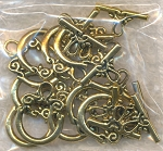 Fancy Loop Top Toggle Clasps Antiqued Gold Finish (10)