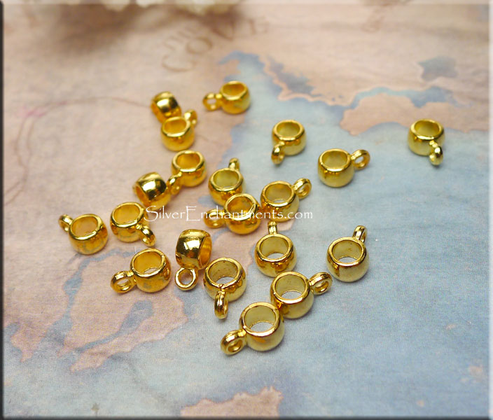 Plain Ring Bails with 3mm Opening, Bright Gold (20)