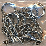 Fancy 3-Strand Toggle Clasps, Antique Silver (10)