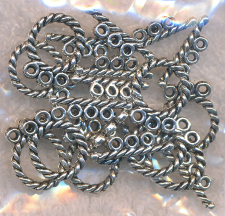 Round Twist Triple-Strand Toggle Clasps, 12mm (10)