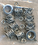 Scroll Heart Slider Large Hole Bails, Antique Silver (10)