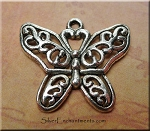 Tibetan Silver Filigree Butterfly Pendant, Butterfly Necklace