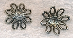 Large Openwork Flower Bead Caps, 20mm Antique Silver (10)