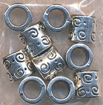 Silver Pewter Fancy Tube Spacer Big Hole Beads 8x9mm 10 per bag