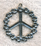 Large Peace Sign Necklace with Flower Border