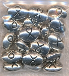 Silver Awareness Ribbon Bead, Antique Silver Pewter Oval Ribbon Bead (1)