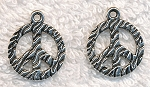 Zebra Print Peace Sign Charm, 18mm