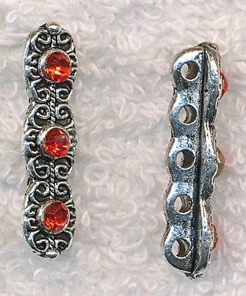 Silver Pewter Fancy Jewelry Separator Bars with Red Crystals 25x6mm 10 per bag