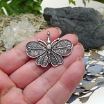 Large Butterfly Pendant Antique Silver Finish