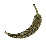 Bronze Large Feather Swoop Necklace Centerpiece, Feather Y Necklace Finding