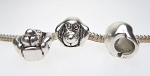 Antique Silver Pewter Dog Large Hole Bead, Dog Big Hole Charm Bead