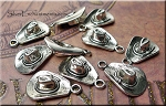 Silver Cowboy Hat Charms, Antique Silver Pewter Cowboy Hat Charms, Bulk (10)