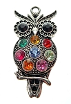 Owl Necklace, Multicolored Crystal Silver Owl Jewelry