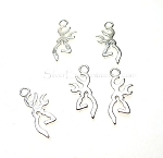 Silver Pewter Stag Buck Deer Charms 22x9mm Bright Silver 10 per bag
