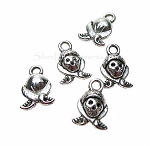 Pirate Charms, Antiqued Silver Skull and Crossbones (15)