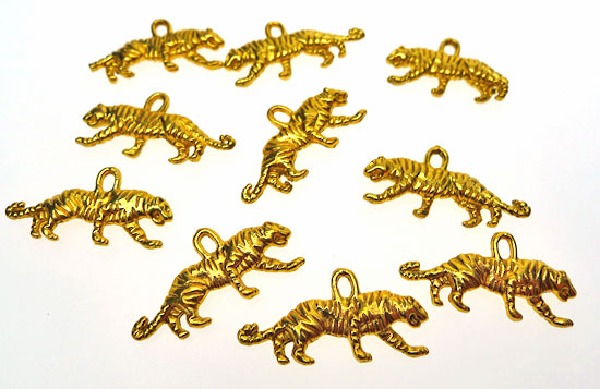 Tiger Charms, Bright Gold Finish (10)