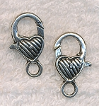 Striped Heart Lobster Clasp, Antique Silver