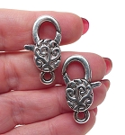 Filigree Swirl Lobster Clasp with Antiqued Silver 30x12mm Large Jewelry Clasps, 1pc