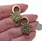 Filigree Swirl Lobster Clasp, Antiqued Gold Large