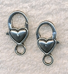 Heart Lobster Trigger Clasp, Antique Silver