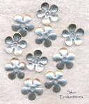 Plain Daisy Flower Bead Caps, Antique Silver 21mm (10)